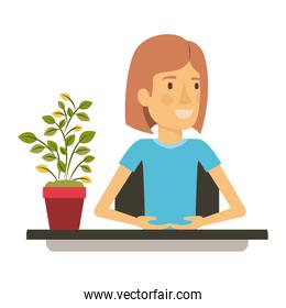 silhouette color closeup half body woman assistant in desk with short hair