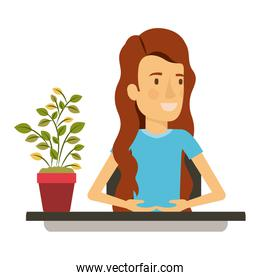 silhouette color closeup half body woman assistant in desk with long wavy hair