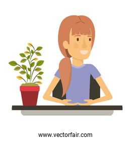 silhouette color closeup half body woman assistant in desk with ponytail hair