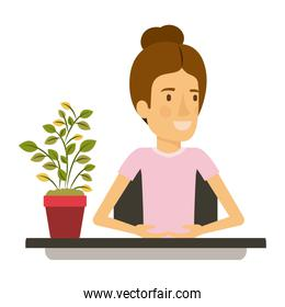 silhouette color closeup half body woman assistant in desk with collected hair