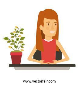 silhouette color closeup half body woman assistant in desk with straight long redhair