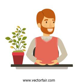 silhouette color closeup half body bearded man assistant in desk in formal suit