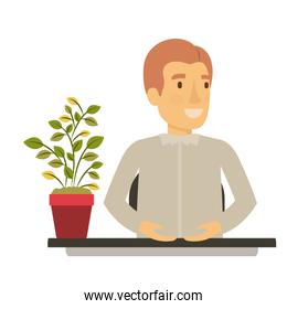silhouette color closeup half body young man assistant in desk in formal shirt