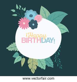 color green background with circular frame with decorative flowers and text happy birthday inside
