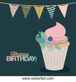 color dark green background with decorative flags to party and sweet cupcake and text happy birthday