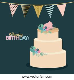 color dark green background with decorative flags to party and multi-storey cake and text happy birthday