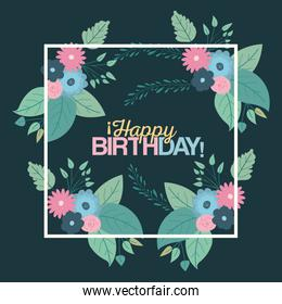 color green background with square frame with decorative flowers and text happy birthday inside
