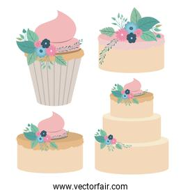 white background with colorful set cakes and cupcakes