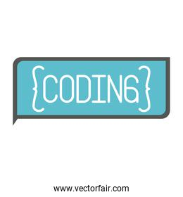colorful silhouette of rectangle text coding