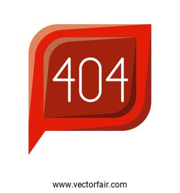 colorful silhouette dialogue square with tail with 404 not found symbol