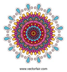 white background with colorful flower mandala vintage decorative drops ornament