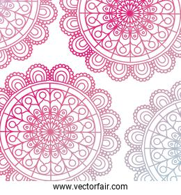 pattern red gradient brilliant flower mandala vintage decorative ornament