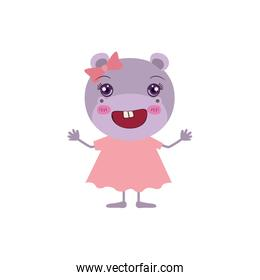colorful caricature of cute happiness expression female hippo in dress with bow lace