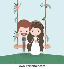 sky landscape scene background in grass with couple of just married in decorative swing in wooden poles with floral ornaments