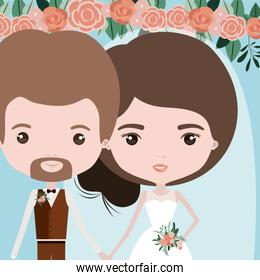 color background with half body couple of just married man bearded and woman with collected hair