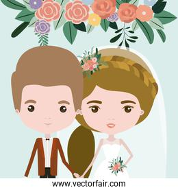 color background with half body couple of just married man and woman with ponytail hair