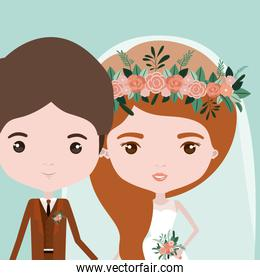 color background with half body couple of just married young man and woman with long wavy hair