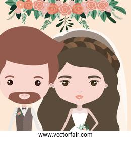 color background with half body couple of just married bearded man and woman with long wavy hair