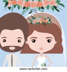 color background with half body couple of just married bearded man and woman with short wavy hair