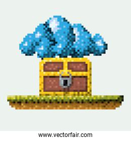 color pixelated image meadow with coffer with padlock and cumulus cloud