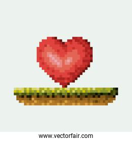 color pixelated heart in meadow