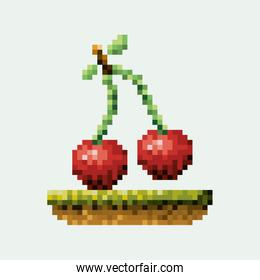 color pixelated cherry fruits in meadow