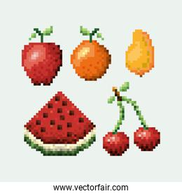 color pixelated set collection fruits icons