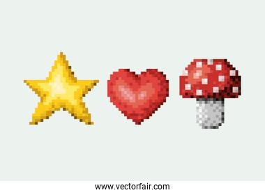 color pixelated set of star and heart with mushroom