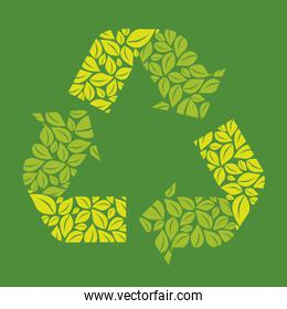 Illustration recycling ecological simbol with leaves vector illu