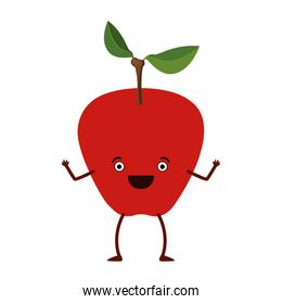 white background with apple fruit caricature