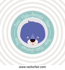 circular background with color frame decorative and face seal cute animal text