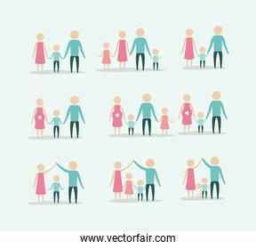 color background with silhouette set pictogram generations people of family