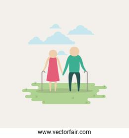 white background sky landscape and grass with silhouette set pictogram elderly couple in grass