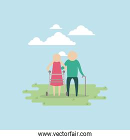 color background sky landscape and grass with silhouette set pictogram elderly couple in grass with walking stick