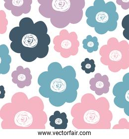 white background with colorful pattern of flowers
