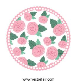 white background with colorful circular frame with pattern of rose flowers