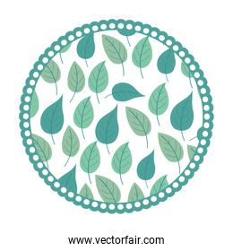 white background with colorful circular frame with pattern of ovoid leaves