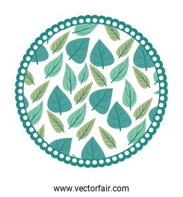 white background with colorful circular frame with pattern of cordiform leaves