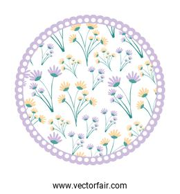 white background with colorful circular frame with pattern of branches with flowers