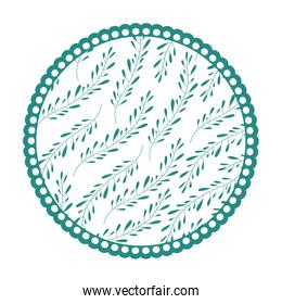 white background with colorful circular frame with pattern of branches with ovoid leaves