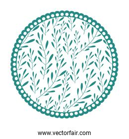 white background with colorful circular frame with pattern of branches with ovoid leaf
