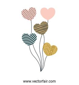 set of balloons in heart shape with different decorations