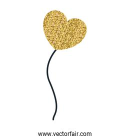 yellow pixelated color silhouette balloon in heart shape floating