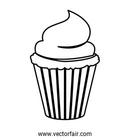 sketch contour of hand drawing cupcake with buttercream decorative