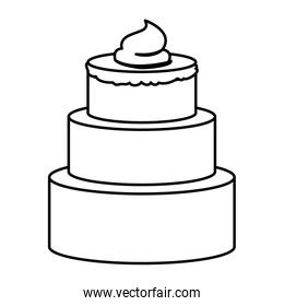 sketch contour of hand drawing three-story cake with buttercream decorative