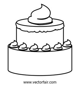 sketch contour of hand drawing two-story cake with buttercream decorative