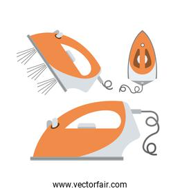 white background of colorful set clothes iron