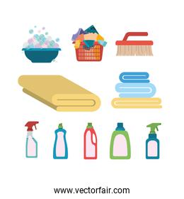 white background of colorful set elements of laundry and cleaning items