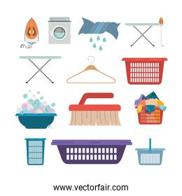white background of colorful set elements of laundry and cleaning items of wash machine