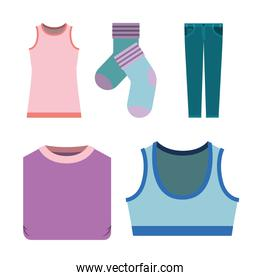 white background of colorful set elements clothes for woman